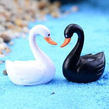 2x Black White Swan Fairy Garden Decor Ornament Miniature Figurine Plant Pot DIY