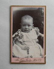 Antique 1904 B/W Cabinet Photograph. Baby with Rattle. Tower Bridge Photo Co