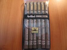 6 Pack - Artline 230 Black Drawing System Pens 6 Nib Sizes (1-2-3-4-5-8) posted