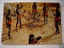 VINTAGE COLOUR POSTCARD ABORIGINAL MEN NORTHERN TERRITORY WITH SPEARS BOOMERANG