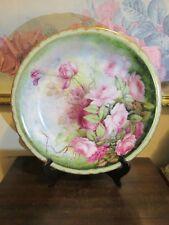 "JPL J. Pouyat Limoges France Hand Painted Charger Plate Platter Pink Roses 12"""