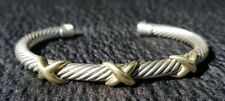 DAVID YURMAN 14K GOLD, STERLING SILVER,TRIPLE X STATION BRACELET.