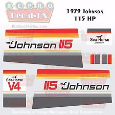 1979 Johnson 115 HP V4 Sea-Horse Outboard Reproduction 14 Pc Marine Vinyl Decals