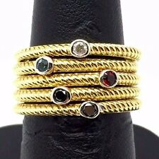 Sterling Silver Gold Tone Diamond Garnet Onyx 5 Stackable Twist Band Ring Set 7