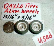 "Vintage Smooth Alum wheels w/Daxlo Sponge Rubber Tires 1pr 1/32 Used15/16""X5/16"""