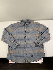 Men's prAna Cotton Long Sleeve Button Down Shirt Size 2XL Gray Striped