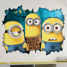 Minions 3D Look Wall Vinyl Sticker - Despicable Me Childrens Bedroom Mural