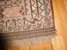 "VINTAGE PERSIAN HAND MADE RUG  BROWNS EARTH TONES approx 3' x 5' 39"" x 56"""