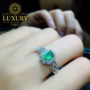 Natural Emerald Engagement Ring Platinum Plated 925 Sterling Silver Women Rings