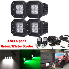 4x Green/White/Strobe Led Work Light Dual Colors Flush Mount Spot Beam Pods SUV
