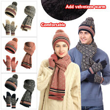 3Pcs New Adult Winter Warm Knit Beanie Hat Scarf Touch screen Gloves Set Gifts