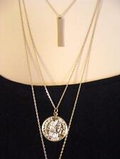 "$20 Nordstrom Bar Coin Pendant 3 Layer Goldtone Chain Necklace 21"" Long"
