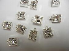 12 swarovski letter H 10mm crystal #4889 in/1-loop cast settings,sterling plate