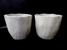 Töpfe 2 Übertöpfe Weiß rund 15 cm Hoch Rillenmuster Pflanzen Keramik Dekoration