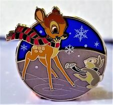 Disney Pin 118885 Bambi & Thumper Ice Skating Holiday 2016 Stained Glass Noc