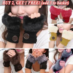 Winter Women Faux Fur Fluffy Fingerless Gloves Ladies Arm Wrist Warmer Mittens