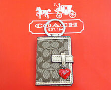 NEW Coach Keychain Key Ring Red Heart Charm Picture Holder Frame Sig Brown Khaki