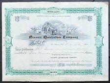 OCEANIC QUICKSILVER CO Stock 1902. Cambria, San Luis Obispo Co, CA. George Hurst