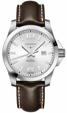 Longines Conquest Automatic Brown Leather Silver Dial Date Mens Watch L37784765