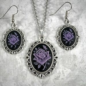 PURPLE ROSE ON BLACK CAMEO SILVER PENDANT NECKLACE & PIERCED EARRING SET