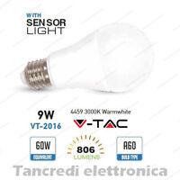 Lampadina led V-TAC 9W E27 bianco caldo 3000K VT-2016 A60 sensore crepuscolare