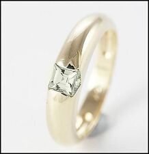 9ct Solid Gold Ring Dome Shaped Cubic Zirconia,Engagement, Dress Ring Size 7.3/4