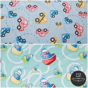 """Print Brushed Cotton, Transport/Vehicles 2 Designs, Cars, Boats, Voyage 57"""""""