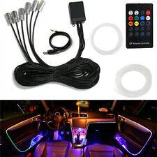 RGB 6x LED Car Interior Door Dash Trim Decor Light Strip +8M Optic Fiber Remote