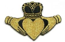 CLADDAGH GOLD & BLACK IRON ON PATCH