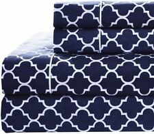 Meridian Navy and White Brushed Sateen Cotton Sheets, 4pc Adjustable Top Split K