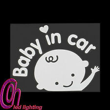 Baby In Car Waving Baby on Board Safety Sign Car Decal Sticker Reflective SILVER