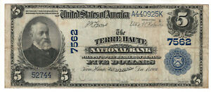 1902 PB $5 TERRE HAUTE NATIONAL BANKNOTE CURRENCY INDIANA CIRCULATED VERY FINE