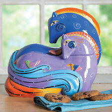 Laurel Burch Aquatic Mares Horse Ceramic Cookie Jar Westland Giftware New!