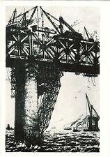 1959 Very Rare Soviet CHINA ART postcard engraving CONSTRUCTION OF UKHAN BRIDGE