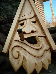 Unique Smoking Bird House Rustic Hand Carved Stogie Face Wood Spirit 16""