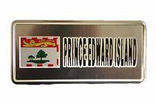 PRINCE EDWARD ISLAND FLAG-SILVER LICENSED STICKER FLAG PLATE..SIZE: 6 X 3 INCH