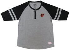 NEW Baltimore Orioles MLB Baseball Jersey Henley Tee Gray Logo T-Shirt Girl's M