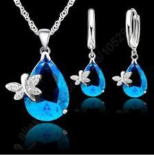 Joyas de plata 925 Moda para mujer conjunto mariposa Collar Par Aretes colgante