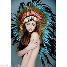 Black Blue Feather Native American Indian Headdress Coachella MH012 USA SELLER