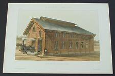 Railroad Train Station Shed Locomotive Late 1800's Architectural Original Print