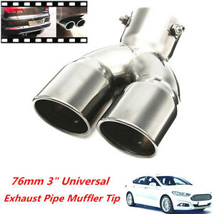 """76mm 3"""" Universal Chrome Stainless Car Rear Double Exhaust Pipe Tail Muffler Tip"""