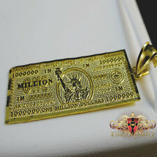 10k Yellow Gold Men's Women's Million Dollar Bill Money Charm 1.50 Inch 2.0 Gram