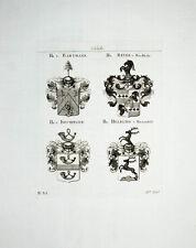 1816 Bartmann Beyer Buchholz Dischinger Helbling von 4 Kupferstich-Wappen Tyroff