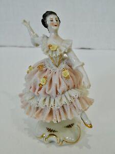 Antique VTG Dresden Lace Germany Lady Ballerina Porcelain Figurine