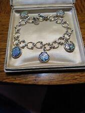 Roman Glass Authentic Bracelet Sterling 5 Dangle Fancy Link Toggle Closure
