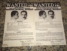 """GEORGE """"ROBIN HOOD"""" BOSQUE BRINKS BANK ROBBERY FBI WANTED POSTERS *ENG/SPANISH*"""