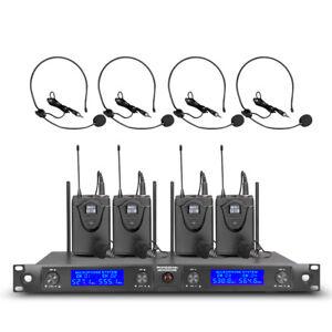 Wireless Microphone SystemPro UHF 4 Channel 4 Bodypack LapelMic Headset Karaoke