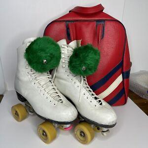 Vintage Riedell White Leather Roller Skates Size 8.5 Bag Pom Poms Movie Prop