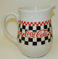 Gibson Dinnerware Coca Cola Checkerboard w/ Red Lettering Pitcher