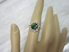GORGEOUS ESTATE14 KT GOLD 2.22 CTW. VIVID GREEN APATITE & DIAMOND RING !!!!
